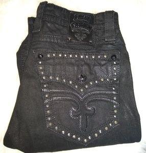 Men's Rock Revival black jeans size 34x32 straight